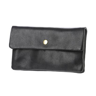 ペルケ perche 牛革袋縫いかぶせ長財布 (ブラック)