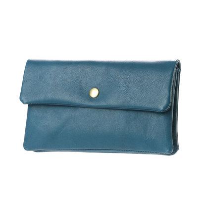 ペルケ perche 牛革袋縫いかぶせ長財布 (ブルー)