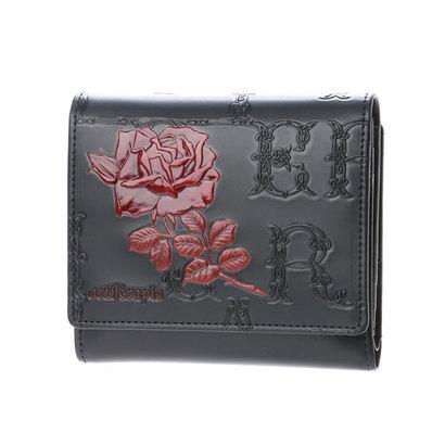アルセラピィ artherapie フィセルローズ 二つ折り財布 アウトポケット(ブラック×レッド)