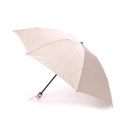 ホワイ Why ハーネスジャカード 折り畳み傘 (ベージュ×コーラルピンク)