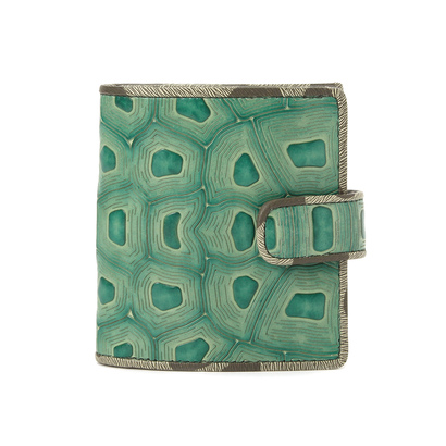ヒロコ ハヤシ HIROKO HAYASHI COLLABORAZIONE(コラボラツィオーネ) 薄型二つ折り財布 (グリーン系)