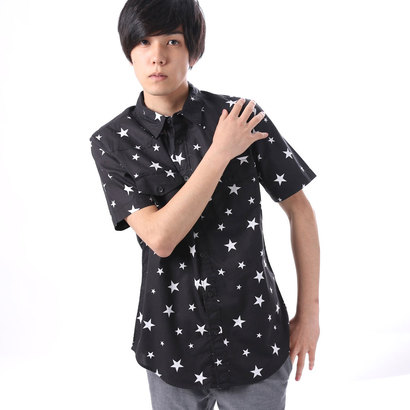 ゲス GUESS S/S WESTERN STAR PRINT SHIRT (JET BLACK MULTI)