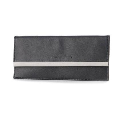 スチュワート スタンド STEWART/STAND レザーとステンレス糸の薄まちクラッチウォレット (ブラック)