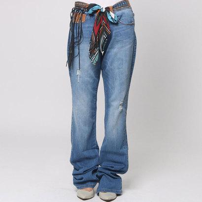 【アウトレット】デシグアル Desigual  ベルト付き ブーツカット デニム パンツ (デニム)