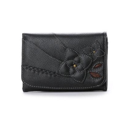 エスノ Ethno 中L字ファスナー2つ折財布 (ブラック)