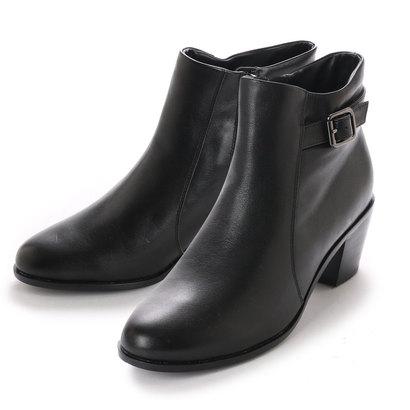 【アウトレット】キスコ KISCO 【本革】ベルトデザインカジュアルショートブーツ (ブラック)