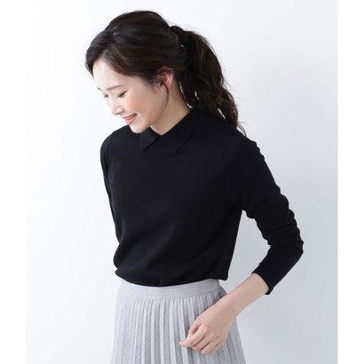 ニューヨーカー NEWYORKER 【Days Knit】ポロ襟ミラノリブ プルオーバー(手洗い可能) (黒)