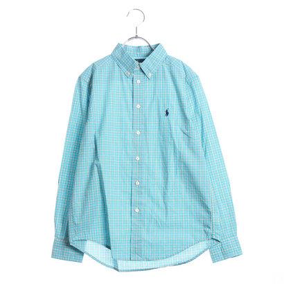 ポロラルフローレン POLO RALPH LAUREN ワンポイント チェック ボタンダウン シャツ (ブルー)