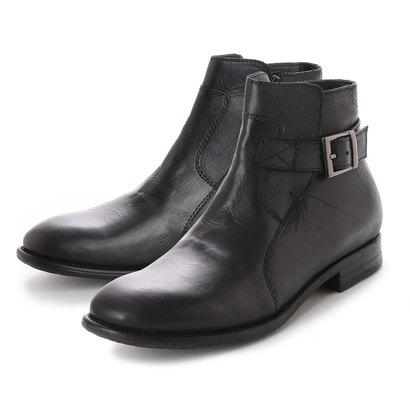 キスコ KISCO [本革]メンズカジュアルベルト飾りサイドジッパーアンクルブーツ (ブラック)