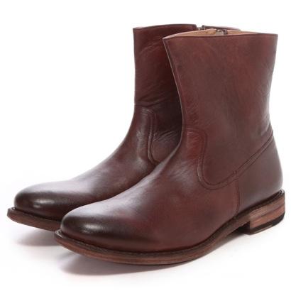 ロンドンシューメイク London Shoe Make グッドイヤーウエルトオールレザーハンドメイドジップアップハーフブーツ(ボルドー)