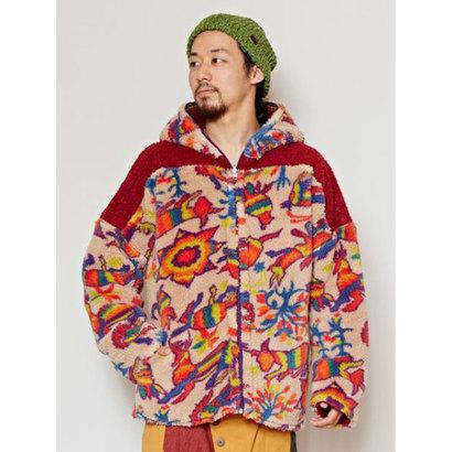 【チャイハネ】メキシカン柄アミーゴMEN'Sボアジャケット リバーシブル仕様 ベージュ
