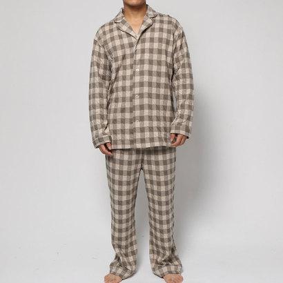【アウトレット】コンフォートインデックス COMFORT INDEX ギンガムチェックオープンカラーパジャマ (ベージュ)