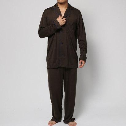 【アウトレット】コンフォートインデックス COMFORT INDEX モダールパイピングオープンカラーパジャマ (ブラウン)