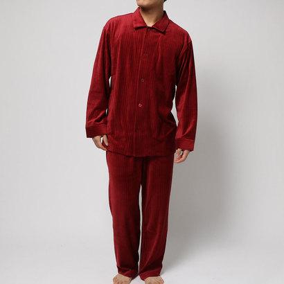 【アウトレット】コンフォートインデックス COMFORT INDEX ベロアレギュラーカラーパジャマ (レッド)