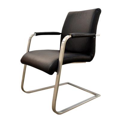 IDC OTSUKA/大塚家具 椅子アーム1857-32革BKスチール (ブラック)【返品不可商品】