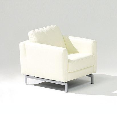 IDC OTSUKA/大塚家具 アームチェアL/S FIT-19 革ホワイト/金属脚 (ホワイト)【返品不可商品】