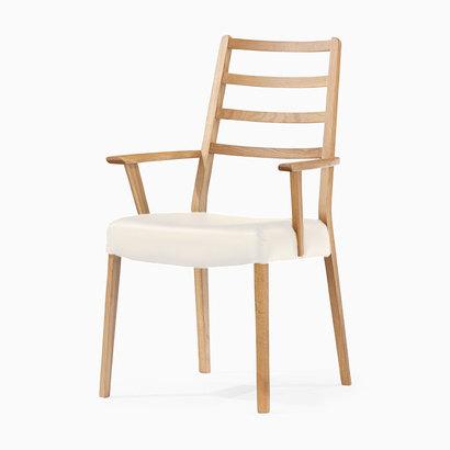 IDC OTSUKA/大塚家具 椅子 シネマ(ハイバック肘付) Aタイプ レッドオーク材/WO色 PVCアイボリー (ホワイトオーク)【返品不可商品】
