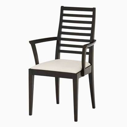 IDC OTSUKA/大塚家具 椅子(アーム) N005 #PVCIV/艶BKブナ (ブラック)【返品不可商品】