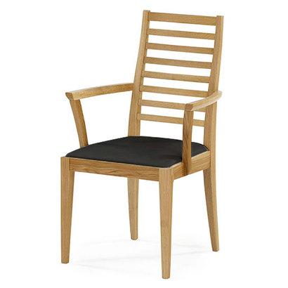 IDC OTSUKA/大塚家具 椅子(アーム) N005 #PVC/WOナラ ブラック (ホワイトオーク)【返品不可商品】