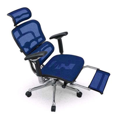 IDC OTSUKA/大塚家具 エルゴヒューマンチェア プロ EHP-LPL(ヘッドレストあり)オットマン内臓タイプ ファブリックメッシュ(3D)ブルーKMD-35 (ブルー)【返品不可商品】
