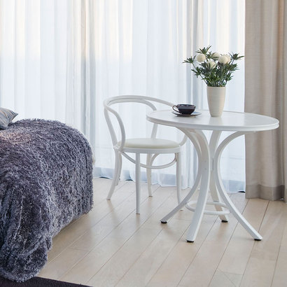 IDC OTSUKA/大塚家具 椅子 508-OU ソフトレザーWH/WHブナ (ホワイト)【返品不可商品】