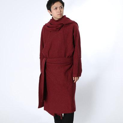 【チャイハネ】ウール100%縮絨ニットコート チベタンマント パープル