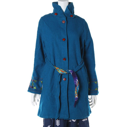【チャイハネ】ウール混ルミナ刺繍コート ターコイズブルー