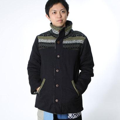 【チャイハネ】リバーシブル ジャガードMEN'Sジャケット ブラック