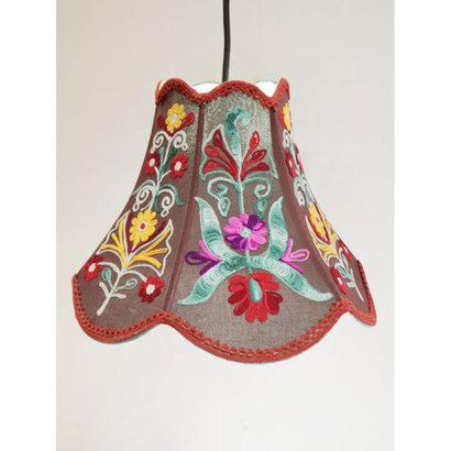 【チャイハネ】カシミール刺繍チューリップ型ランプ ブラウン