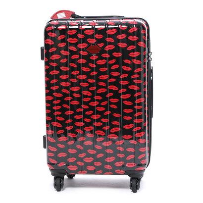 スパイラルガール SPIRAL GIRL スーツケース 50L拡張機能付トラベルハードキャリー (ブラック&レッド)