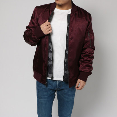 【アウトレット】ゲス GUESS IRVINE SATIN 2-PIECE BOMBER JACKET (WINETASTING)