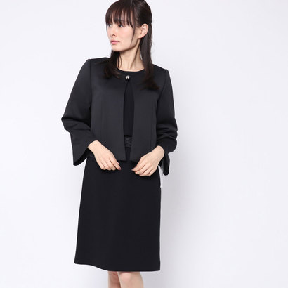 ブラックギャラリー BLACK GALLERY ボックスタックジャケットとワンピースのアンサンブル (ブラック)