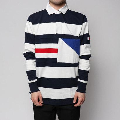 トミーヒルフィガー TOMMY HILFIGER ストライプラグビーシャツ (ネイビー)