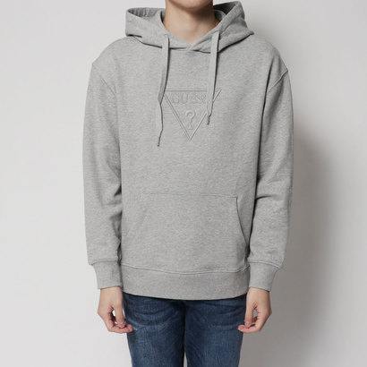 ゲス GUESS EMBROIDERY TRIANGLE LOGO PULLOVER PARKA (MELANGE GREY)