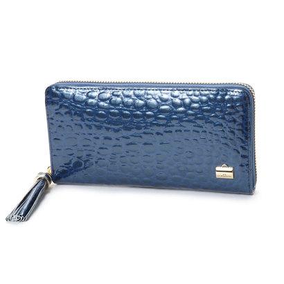 ラ バガジェリー LA BAGAGERIE クロコ型押しエナメル 長財布 (BLUE)