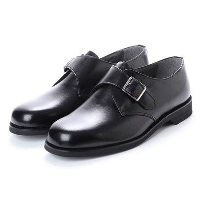 ブラック BLACK 幅広 超幅広 6E G 日本製 本革ビジネスシューズ モンクストラップ (ブラック)