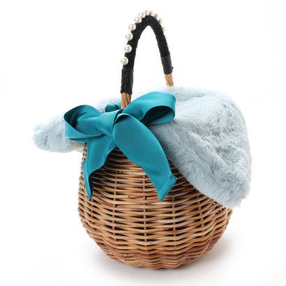 ランバン オン ブルー LANVIN en Bleu イネス ファー付きカゴバッグ (ライトブルー)