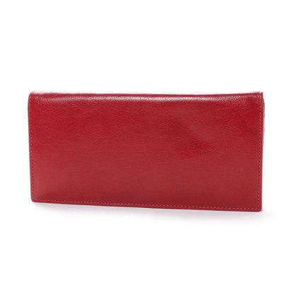 オティアス Otias ベジタブルタンニンなめしバッファローレザー 二つ折り長財布/かぶせウォレット (レッド)