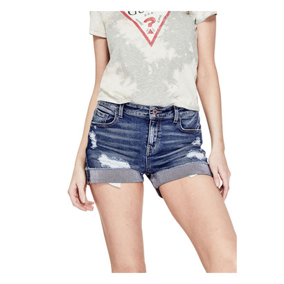 ゲス GUESS TURNBACK HEM SKINNY DENIM SHORT (DARK WASH)