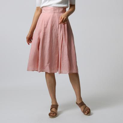 アンタイトル UNTITLED [L]【洗える】リネンタックフレアスカート (ピンク)