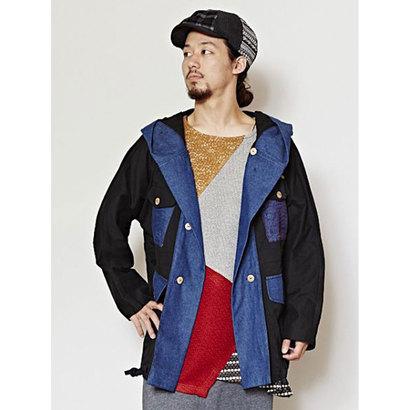 【チャイハネ】パッチワークMEN'Sフードジャケット ブラック