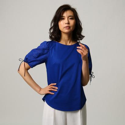 アンタイトル UNTITLED [L]【洗える】シアーチェック袖プルオーバー (ブルー)