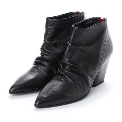 【アウトレット】アルマネラ HALMANERA 【INTER-CHAUSSURES】ドレープ加工ショートブーツ (ブラック)