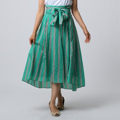 UNTITLED シルク混ストライプスカート (グリーン)