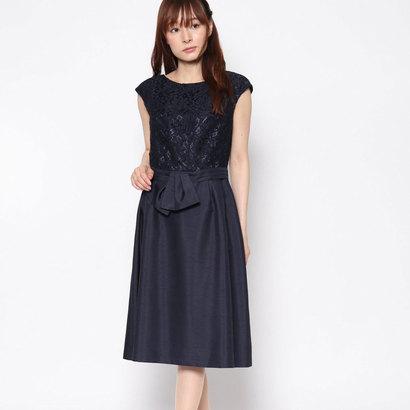 【アウトレット】ジュネビビアン Genet Vivien レース切り替えベルト付きドレス (ネイビー)