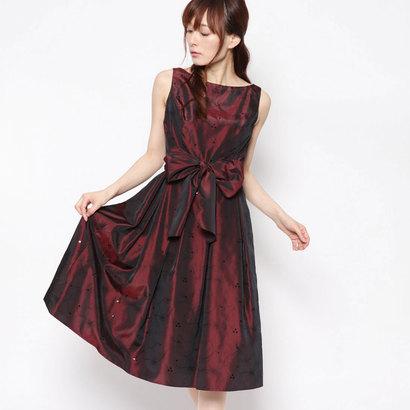 【アウトレット】ジュネビビアン Genet Vivien ベルト付き刺繍ドレス (ダークワインレッド)