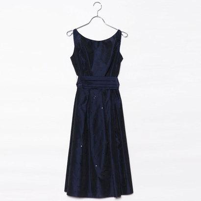 【アウトレット】ジュネビビアン Genet Vivien ベルト付き刺繍ドレス (ダークブルー)