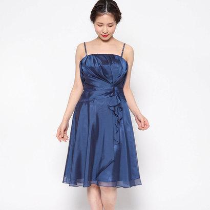 【アウトレット】ジュネビビアン Genet Vivien 袖付きラインストーンショルダードレス (ネイビー)