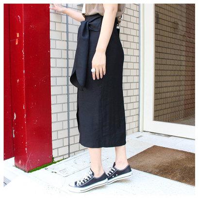 モードローブ MODE ROBE ウエストリボンタイトスカート (ブラック)