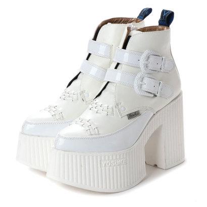 ヨースケ YOSUKE 厚底ポインテッドブーツ (ホワイト)